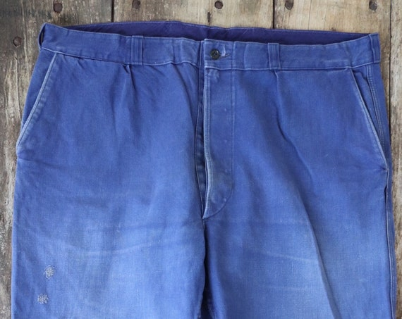 "Vintage 1960s 60s French Vetra cotton twill blue bleu de travail work chore pants trousers workwear patched darned repaired 41"" x 33"" xl"