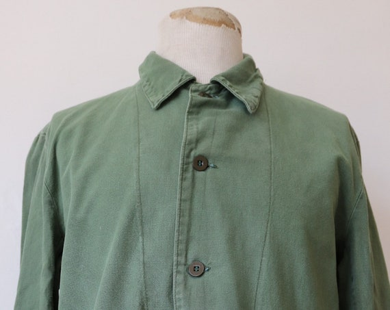 "Vintage 1970s 70s 1980s 80s Swedish european army cotton twill shirt repaired darned military 48"" chest"