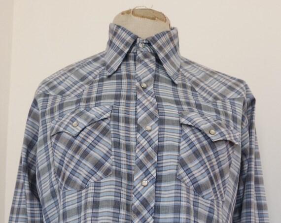 "Vintage Caravan blue grey white Western cowboy shirt 46"" chest"