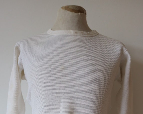 "Vintage 1970s 70s white waffle thermal undershirt shirt top unisex long sleeved underwear 36"" 38"" 40"" chest workwear work chore"
