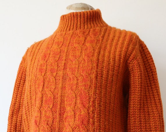 "Vintage 1970s 70s Jantzen orange turtle neck 100% wool knitted aran sweater jumper thick chunky 46"" chest made in USA"