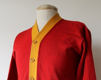 "Vintage 1940s 40s 1950s 50s red gold yellow varsity USMC cardigan sweater Ivy League style 38"" chest"