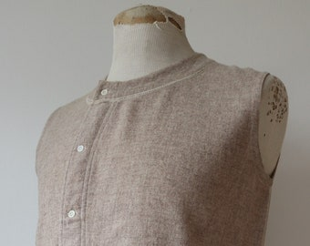 "Vintage 1940s 40s french grey wool undershirt Henley vest thermal underwear 40"" chest rainbow selvedge repaired darned"