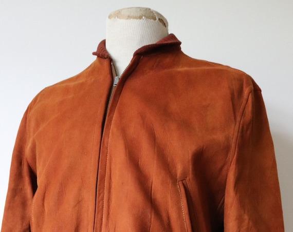 "Vintage 1960s 60s rust orange brown suede ricky bomber jacket 42"" chest rockabilly"