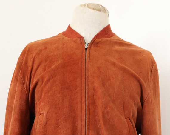 "Vintage 1950s 50s Lakeville tan rust brown suede ricky jacket 44"" chest rockabilly Talon zipper"