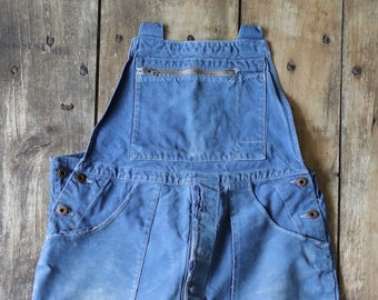 """Vintage 1950s 50s French Le Mont St Michel cotton twill darned overalls dungarees work chore workwear 36"""" 38"""" x 26"""""""