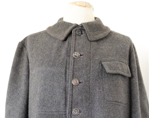 """Vintage 1930s 30s french grey wool hunting work jacket chore 46"""" chest workwear"""