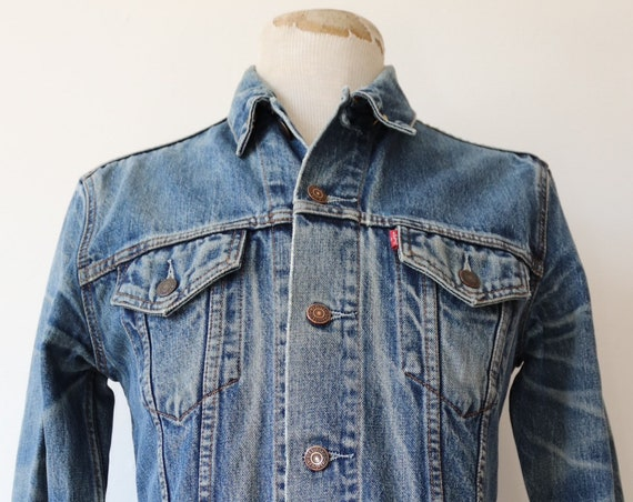 "Vintage Levis Levi Strauss denim trucker type three jacket honeycomb fade small e red tab 70590 38"" chest workwear"