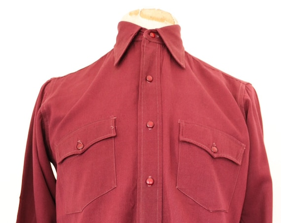 "Vintage 1940s 40s Elbeco burgundy Western cowboy shirt wool gabardine bakelite buttons rockabilly 42"" chest single needle gusset"