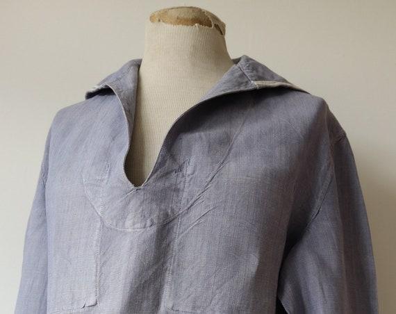 "Vintage 1950s 50s french indigo blue linen marine nationale navy naval bib top shirt uniform military 48"" chest sailor seaman"