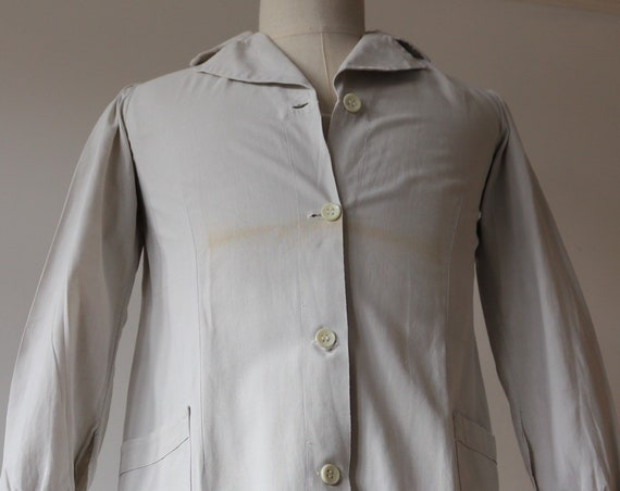 "Vintage 1940s 40s french white cotton factory lab duster long coat work chore workwear jacket womens 38"" chest"