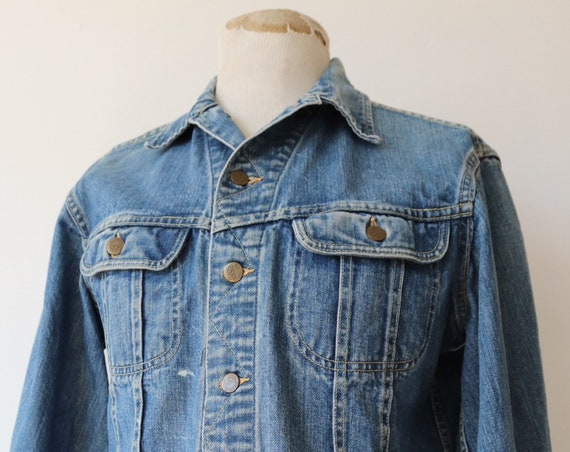 "Vintage 1970s 70s Lee 101 denim trucker jacket Union Made 44"" chest workwear"