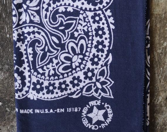 Vintage indigo blue cotton colour color fast bandana neckerchief pocket square made in USA western cowboy