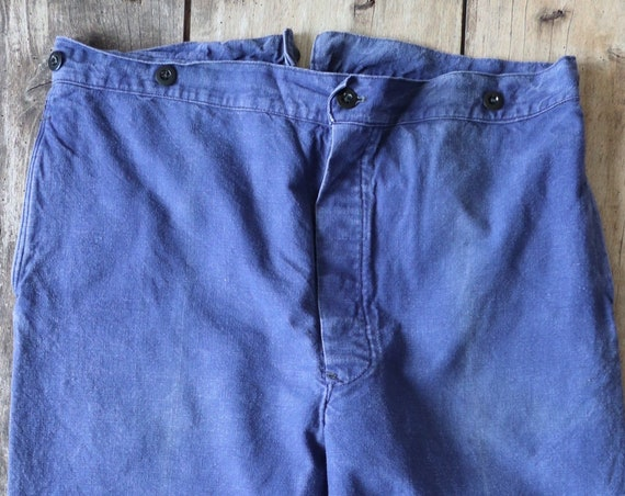 "Vintage 1940s 1940s french bleu de travail blue linen cotton twill buckle back trousers pants 39"" x 28"" workwear work chore suspender button"