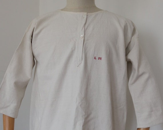 "Vintage antique 1900s handmade french off-white linen nightgown shirt dress monogrammed indigo dye project 46"" chest"