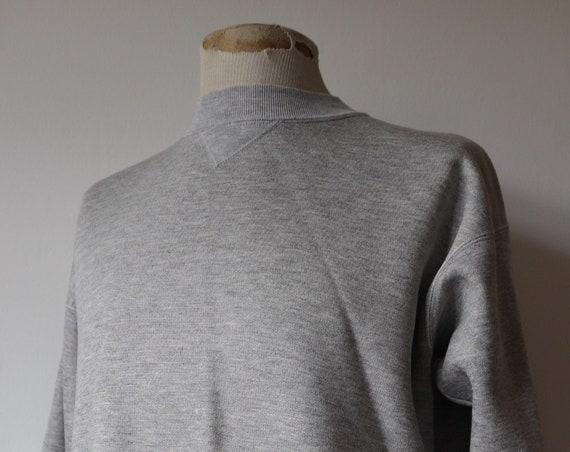 "Vintage 1980s 80s grey marl single v sweatshirt 47"" chest flocked sportswear crew neck"