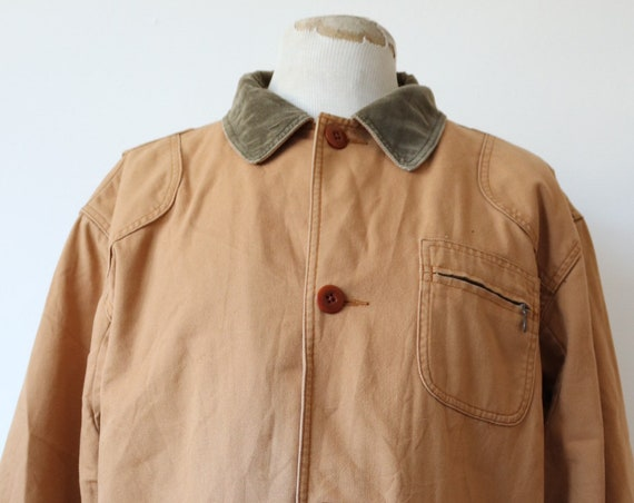"Vintage LL Bean tan brown tin cloth duck cotton canvas hunting work workwear jacket removable lining 50"" chest"