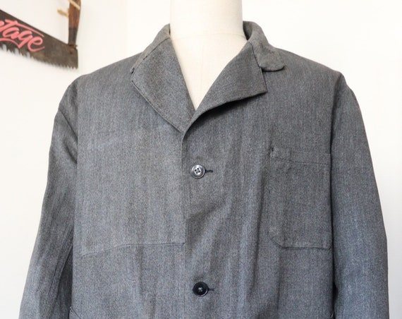 "Vintage 1940s 40s 1950s 50s french grey salt and pepper long chore factory coat duster jacket work workwear 47"" chest"