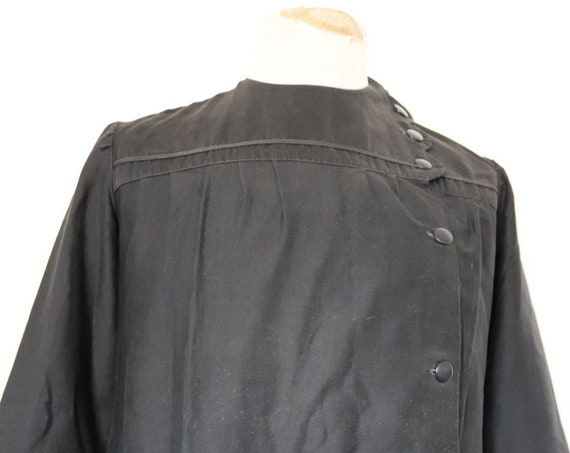 """Vintage 1950s 50s womens girls french black cotton school ecoliere dress tunic 40"""" chest workwear chore"""