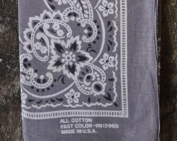 Vintage grey cotton colour color fast bandana neckerchief pocket square made in USA western cowboy