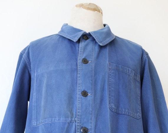 "Vintage 1950s 50s french Marine Nationale navy naval blue bleu de travail cotton twill work chore jacket 46"" chesst workwear military"
