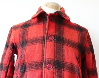 "Vintage 1950s 50s JC Higgins Sears Roebuck red black buffalo plaid wool hunting shooting jacket 42"" chest flannel lined rockabilly"