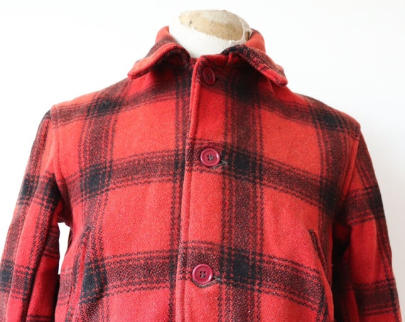 """Vintage 1950s 50s JC Higgins Sears Roebuck red black buffalo plaid wool hunting shooting jacket 42"""" chest flannel lined rockabilly"""