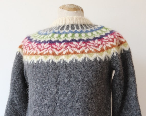 """RESERVED Vintage 1970s 70s hand knitted wool Icelandic jumoer sweater grey rainbow multicoloured 38"""" chest chunky handmade"""