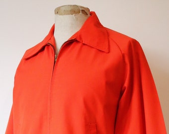 "Vintage 1960s 60s 1970s 70s tomato red BSA Boy Scouts drizzler golf summer jacket 46"" chest Ivy League Talon zipper"