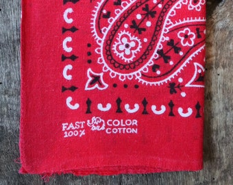 Vintage 1960s 60s trunk up Elephant brand cotton colourfast colorfast turkey red bandana pocket square neckerchief paisley rockabilly