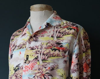 "Vintage 1940s 40s silk Hawaiian tiki shirt long sleeved hibiscus print rockabilly loop collar 44"" chest"