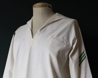 "Vintage 1960s 60s white cotton USN US Navy naval crackerjack sailor bib top shirt uniform Airantisubron 32 46"" chest military"