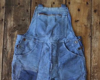 """Vintage 1950s 50s French Le Mont St Michel moleskin overalls dungarees work chore workwear patched repaired darned 34"""" 36"""" x 27"""""""