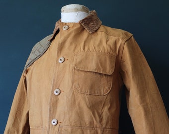 """Vintage 1960s 60s tan brown cotton canvas hunting work jacket workwear chore Canvasback 43"""" chest duck tin cloth"""