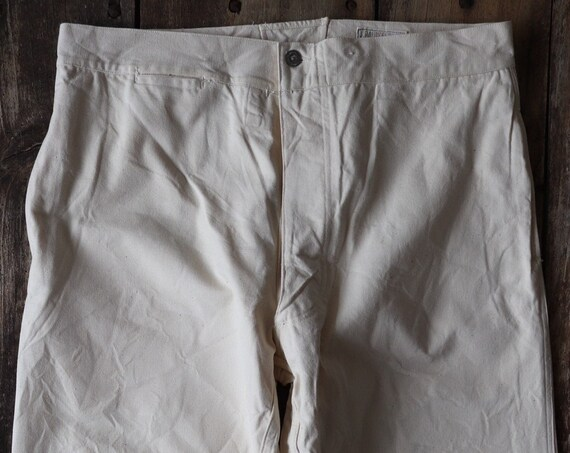 """Vintage 1940s 40s WW2 era deadstock french white cotton ecru twill buckle cinch back trousers pants 34"""" 35"""" 36"""" x 30"""" army military hospital"""