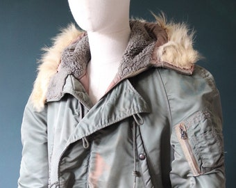 """Vintage 1960s 60s USAF us Air Force N-3B N3B khaki green snorkel parka jacket Skyline distressed extreme cold weather 46"""" chest military"""