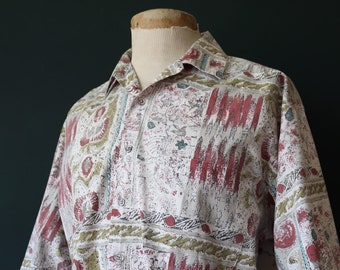 "Vintage white pink olive green Hawaiian style patterned shirt short sleeve summer BBQ tiki rockabilly XL 50"" chest"