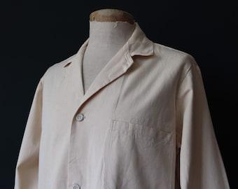 """Vintage 1970s 70s Harpoon deadstock British white cotton twill work chore jacket 48"""" chest"""