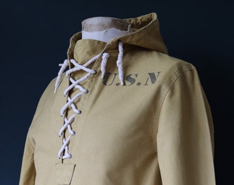 Vintage reproduction 1940s 40s USN US Navy foul weather deck anorak smock duck cotton canvas stencil military made in Japan