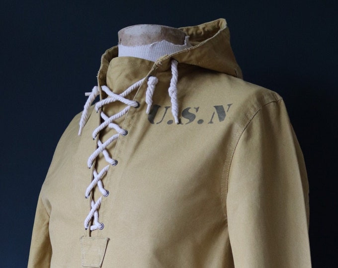 Featured listing image: Vintage reproduction 1940s 40s USN US Navy foul weather deck anorak smock duck cotton canvas stencil military made in Japan