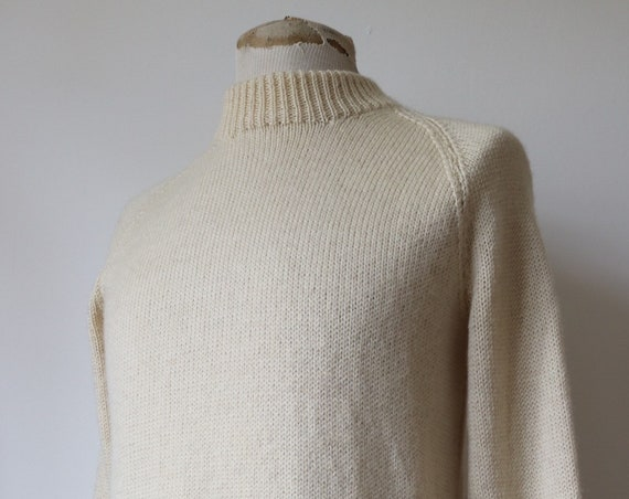 "Vintage 1970s 70s British hand knitted wool white cream jumper sweater fisherman 38"" chest sailing"