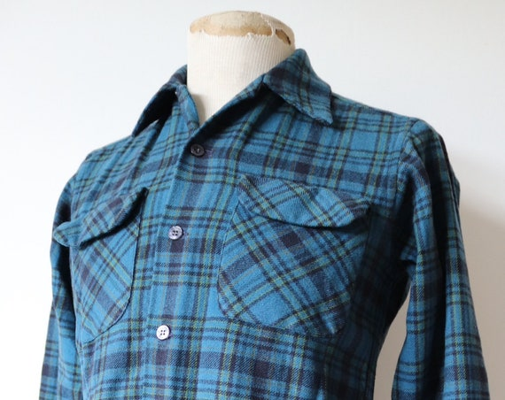 """Vintage 1970s 70s 1980s 80s Pendleton wool board shirt 38"""" chest wool plaid checked blue turquoise"""