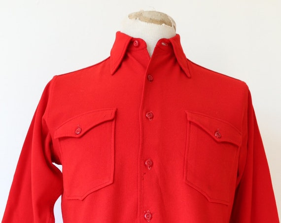 "Vintage 1930s 30s 1940s 40s plain red Pendleton Abercrombie and Fitch wool dress shirt 41"" chest wing tip collar"