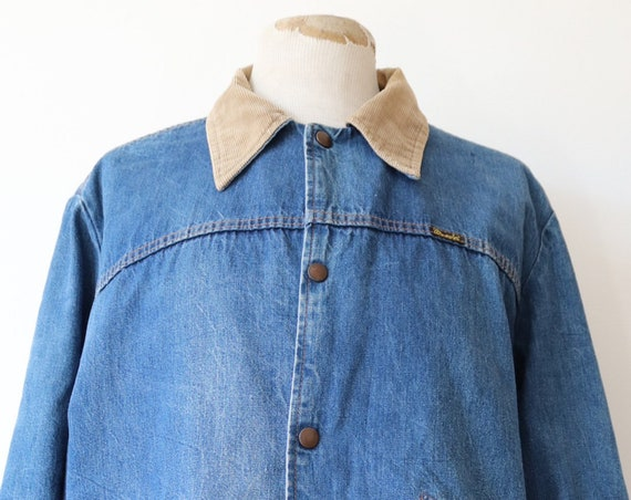 "Vintage 1970s 70s Wrangler plaid lined denim jacket trucker 50"" chest large corduroy collar workwear"