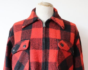 "Vintage 1960s 60s 1970s 70s Monterey Sportswear red black wool checked buffalo plaid hunting shooting jacket Talon zipper 48"" chest"
