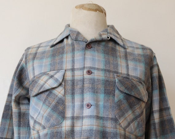 "Vintage 1970s 70 1980s 80s blue grey Pendleton checked plaid wool board shirt loop collar rockabilly made in USA 43"" chest"