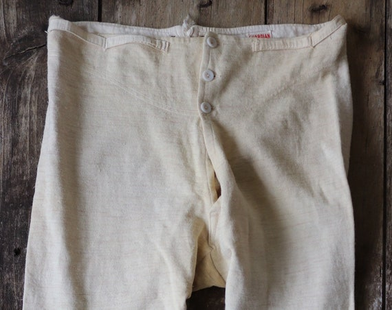 "Vintage 1950s 50s Guardian British off white wool long johns thremal underwear 36"" x 29"""