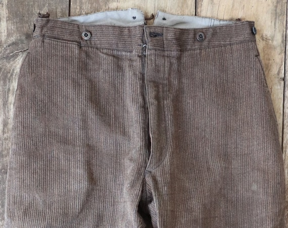 Vintage 1950s 50s french brown cotton pique corduroy hunting riding breeches trousers leg lacing buckle cinch back 34 x 24