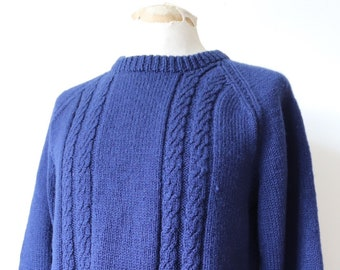 "Vintage 1970s 70s navy blue hand knitted wool sweater jumper cable knit fisherman mariner 42"" chest crew neck"
