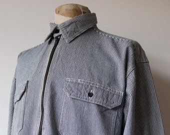 "Vintage Key Imperial blue white hickory engineer stripe work chore smock shirt workwear quarter zip chin strap 55"" chest XXL"